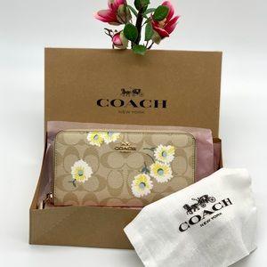 Coach Accordion Zip Wallet Daisy Print